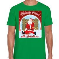 Bellatio Fout kerst t-shirt nobody fucks with sinterklaas groen heren Groen