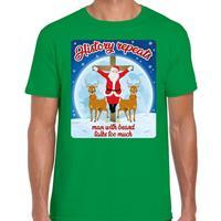 Bellatio Fout kerst t-shirt history repeats groen voor heren
