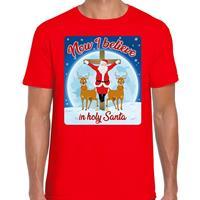 Bellatio Fout kerst t-shirt now I believe rood voor heren