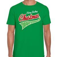 Bellatio Fout kerst t-shirt merry fucking Christmas groen voor heren
