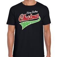 Bellatio Fout kerst t-shirt merry fucking Christmas zwart voor heren