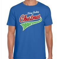 Bellatio Fout kerst t-shirt merry fucking Christmas blauw voor heren