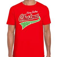 Bellatio Fout kerst t-shirt merry fucking Christmas rood voor heren