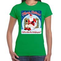 Bellatio Fout kerst t-shirt merry shitmas toiletpaper groen voor dames
