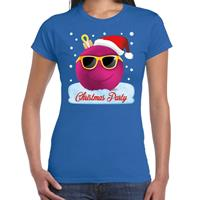 Bellatio Fout t-shirt Christmas party blauw voor dames
