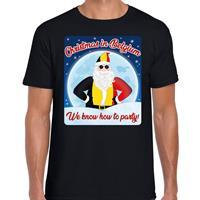 Bellatio Fout Belgie kerst shirt Christmas in Belgium zwart voor heren