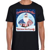 Bellatio Fout Amerika kerst shirt Christmas in USA zwart voor heren