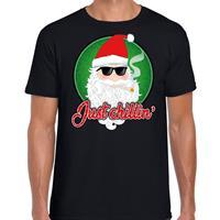Bellatio Fout kerst shirt just chillin zwart voor heren