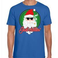 Bellatio Fout kerst shirt just chillin blauw voor heren