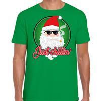 Bellatio Fout kerst shirt just chillin groen voor heren