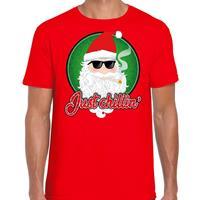 Bellatio Fout kerst shirt just chillin rood voor heren