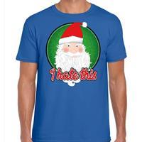 Bellatio Fout kerst shirt I hate this blauw voor heren