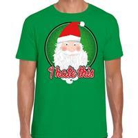 Bellatio Fout kerst shirt I hate this groen voor heren