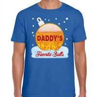 Bellatio Fout kerst shirt Daddy his favorite balls blauw voor heren