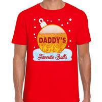 Bellatio Fout kerst shirt Daddy his favorite balls rood voor heren