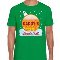 Bellatio Fout kerst shirt Daddy his favorite balls groen voor heren