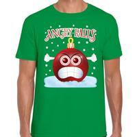 Bellatio Fout kerst shirt Angry balls groen voor heren