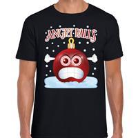 Bellatio Fout kerst shirt Angry balls zwart voor heren