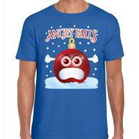 Bellatio Fout kerst shirt Angry balls blauw voor heren