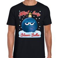 Bellatio Fout kerst shirt Blauwe ballen zwart voor heren
