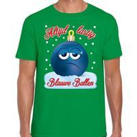 Bellatio Fout kerst shirt Blauwe ballen groen voor heren