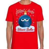 Bellatio Fout kerst shirt Blauwe ballen rood voor heren