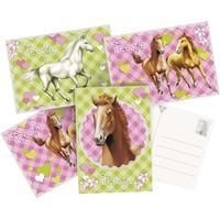 6x Paarden themafeest uitnodigingen/kaarten Multi