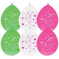 6x Paarden themafeest ballonnen 30 cm Multi