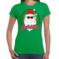 Bellatio Fout kerst shirt just chillin stoere santa groen voor dames