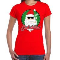 Bellatio Fout kerst shirt just chillin stoere santa rood voor dames