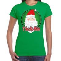 Bellatio Fout kerst shirt I hate this groen voor dames