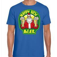 Bellatio Fout Nieuwjaar / Kerstshirt happy new beer / bier blauw heren (48) Blauw