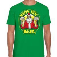 Bellatio Fout Nieuwjaar / Kerstshirt happy new beer / bier groen heren (48) Groen