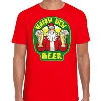 Bellatio Fout Nieuwjaar / Kerstshirt happy new beer / bier rood heren (48) Rood
