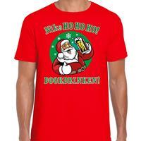 Bellatio Fout Kerst shirt bier drinkende santa ho ho ho rood voor heren