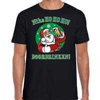 Bellatio Fout Kerst shirt bier drinkende santa ho ho ho zwart voor heren