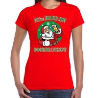 Bellatio Fout kerst shirt bier drinkende Santa rood voor dames