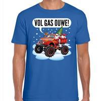 Bellatio Fout kerst shirt Monstertruck Santa blauw voor heren