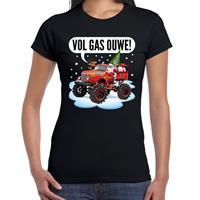 Bellatio Fout kerst shirt Monstertruck Santa zwart voor dames