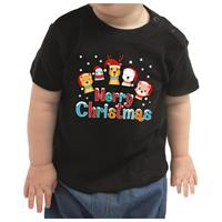 Bellatio Kerstshirt Merry Christmas diertjes zwart baby jongen/meisje 62 (1-3 maanden) Zwart