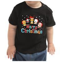 Bellatio Kerstshirt Merry Christmas diertjes zwart peuter jongen/meisje (9-18 maanden) Zwart