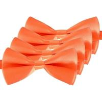 4x Oranje verkleed vlinderstrikjes 14 cm voor dames