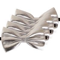 4x Zilveren verkleed vlinderstrikjes 14 cm voor dames