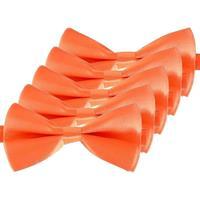 5x Oranje verkleed vlinderstrikjes 14 cm voor dames