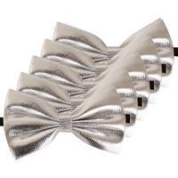 5x Zilveren verkleed vlinderstrikjes 14 cm voor dames