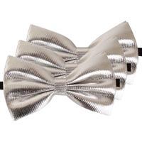 3x Zilveren verkleed vlinderstrikjes 14 cm voor dames