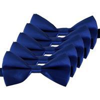 5x Blauwe verkleed vlinderstrikjes 12 cm voor dames