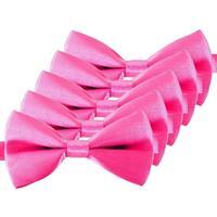 5x Roze verkleed vlinderstrikjes 12 cm voor dames
