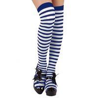 Fiesta carnavales Verkleed kousen blauw/wit gestreept voor dames