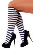 Coppens Overknee stockings blauw/wit